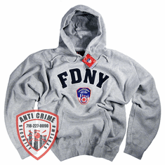 FDNY GRAY HOODED SWEATSHIRT WITH NAVY BLUE EMBROIDERED LETTERS
