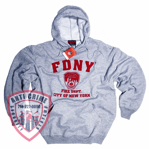 FDNY GRAY HOODED SWEATSHIRT WITH RED PRINT