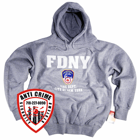 FDNY GRAY HOODED SWEATSHIRT WITH WHITE PRINT AND OFFICIAL LOGO