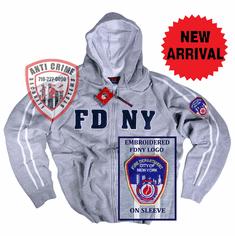 FDNY GRAY HOODED ZIPPERED SWEATSHIRT WITH WHITE STRIPES AND EMBROIDERED LETTERS