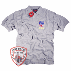 FDNY GRAY POLO SHIRT WITH OFFICIAL EMBROIDERED LOGO