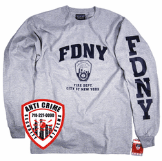 FDNY LONG SLEEVE GRAY TEE SHIRT WITH NAVY BLUE PRINT