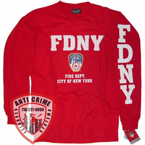 FDNY LONG SLEEVE RED TEE SHIRT WITH WHITE PRINT