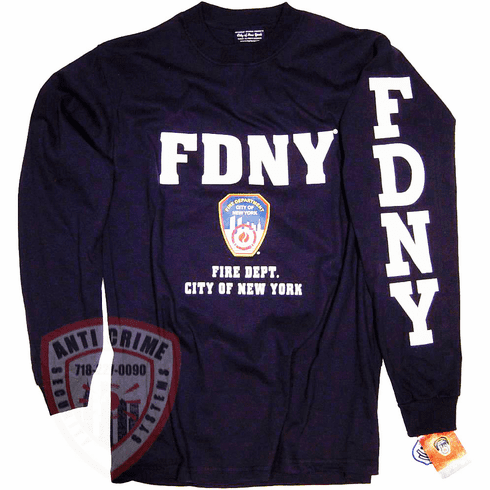 FDNY LONG SLEEVE TEE SHIRT NAVY BLUE WITH WHITE PRINT