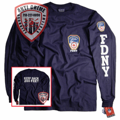 FDNY LONG SLEEVE TEE SHIRT WITH KEEP BACK 200 FEET ON REAR