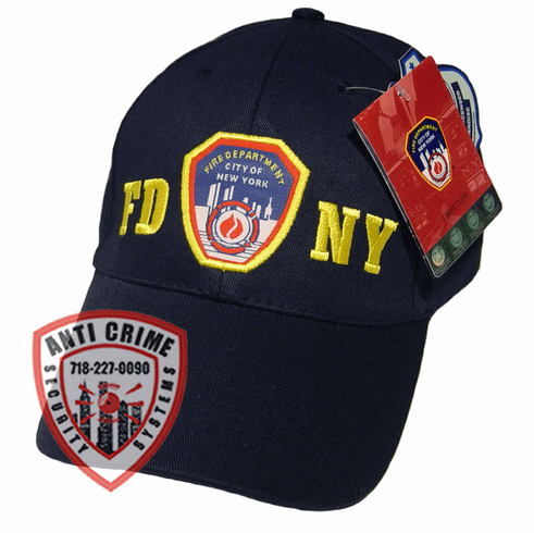FDNY NAVY BLUE BASEBALL STYLE CAP WITH OFFICAL FDNY EMBROIDERED LOGO/GOLD LETTERS