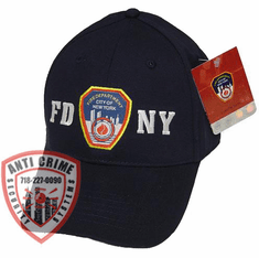 FDNY NAVY BLUE BASEBALL STYLE CAP WITH OFFICIAL FDNY EMBROIDERED LOGO/WHITE LETTERS