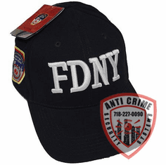 FDNY NAVY BLUE BASEBALL STYLE CAP WITH  WHITE THICK STITCH EMBROIDERED LETTERS