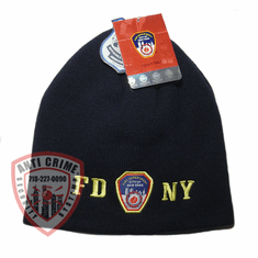 FDNY NAVY BLUE  BEANIE STYLE KNIT HAT WITH GOLD EMBROIDERED LETTERS