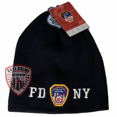 FDNY NAVY BLUE BEANIE STYLE KNIT HAT WITH WHITE EMBROIDERED LETTERS