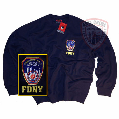 FDNY NAVY BLUE CREW NECK SWEATSHIRT WITH OFFICIAL EMBROIDERED LOGO