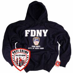 FDNY NAVY BLUE HOODED SWEATSHIRT WITH OFFICIAL LOGO