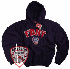 FDNY NAVY BLUE HOODED SWEATSHIRT WITH RED EMBROIDERED LETTERS