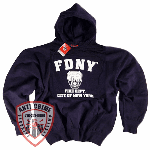 FDNY NAVY BLUE HOODED SWEATSHIRT WITH WHITE PRINT