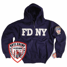 FDNY NAVY BLUE HOODED ZIPPERED SWEATSHIRT