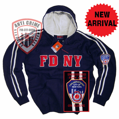 FDNY NAVY BLUE HOODED ZIPPERED SWEATSHIRT WITH WHITE STRIPES AND EMBROIDERED LETTERS