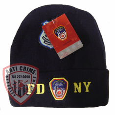 FDNY NAVY BLUE WINTER FOLDOVER KNIT HAT WITH GOLD EMBROIDERED LETTERS