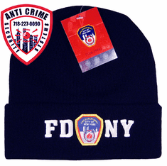 FDNY NAVY BLUE WINTER FOLDOVER KNIT HAT WITH WHITE EMBROIDERED LETTERS