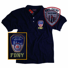 FDNY NAYY BLUE POLO SHIRT WITH OFFICIAL EMBROIDERED LOGO