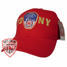 FDNY RED BASEBALL STYLE CAP WITH OFFICAL FDNY EMBROIDERED LOGO/GOLD LETTERS