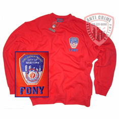 FDNY RED CREW NECK SWEATSHIRT WITH OFFICIAL EMBROIDERED LOG