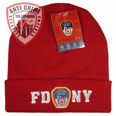 FDNY RED WINTER FOLDOVER KNIT HAT WITH WHITE EMBROIDERED LETTERS