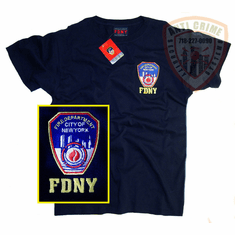 FDNY SHORT SLEEVE TEE SHIRT BLUE WITH OFFICIAL EMBROIDERED LOGO