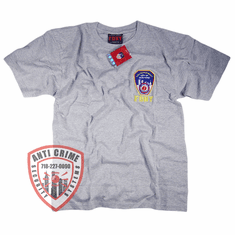 FDNY SHORT SLEEVE TEE SHIRT GRAY  WITH OFFICIAL EMBROIDERED LOGO
