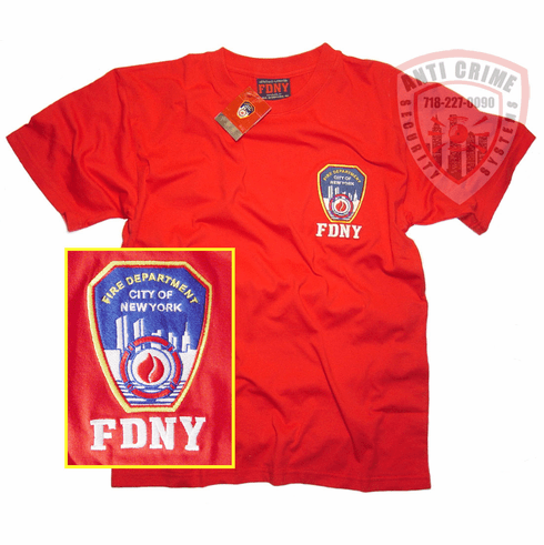 FDNY SHORT SLEEVE TEE SHIRT RED WITH OFFICIAL EMBROIDERED  LOGO