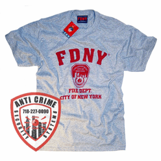 FDNY SHORT  SLEEVE TRAINING TEE SHIRT GRAY WITH RED PRINT