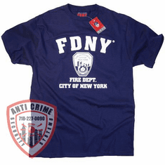 FDNY SHORT SLEEVE TRAINING TEE SHIRT NAVY BLUE WITH WHITE PRINT