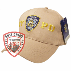 NYPD BASEBALL STYLE CAP/BEIGE WITH GOLD EMBROIDERED LETTERS AND OFFICIAL LOGO