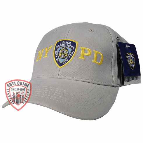 NYPD BASEBALL STYLE CAP/GRAY WITH GOLD EMBROIDERED LETTERS AND OFFICIAL LOGO
