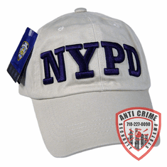 NYPD BASEBALL STYLE CAP GRAY WITH NAVY BLUE THICK STITCH EMBROIDERED LETTERS