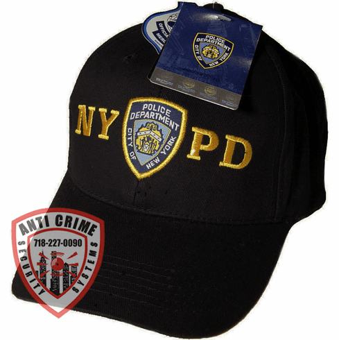 NYPD BLACK BASEBALL STYLE CAP WITH OFFICIAL NYPD EMBROIDERED LOGO/GOLD LETTERS