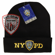 NYPD BLACK  WINTER FOLDOVER KNIT HAT/GOLD EMBROIDERED LETTERS AND OFFICIAL LOGO