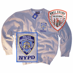NYPD GRAY CREW NECK SWEATSHIRT WITH OFFICIAL EMBROIDERED LOGO