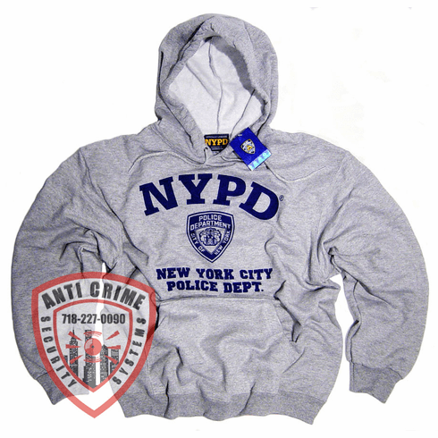 NYPD GRAY HOODED SWEATSHIRT WITH NAVY BLUE PRINT