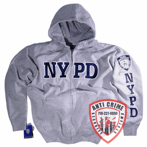 NYPD GRAY HOODED SWEATSHIRT WITH NAVY BLUE PRINT AND ZIPPER