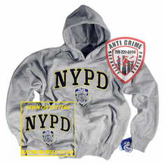NYPD GRAY HOODED SWEATSHIRT WITH SEWN ON LETTERS AND OFFICIAL EMBROIDERED LOGO
