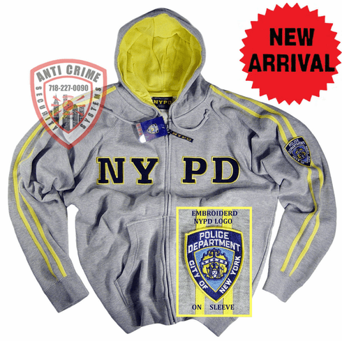 NYPD GRAY HOODED ZIPPERED SWEATSHIRT WITH GOLD STRIPES AND EMBROIDERED LETTERS