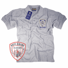 NYPD GRAY POLO SHIRT WITH OFFICIAL EMBROIDERED LOGO