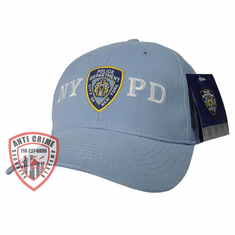 NYPD LIGHT BLUE BASEBALL STYLE CAP WITH OFFICIAL NYPD EMBROIDERED LOGO/WHITE LETTERS