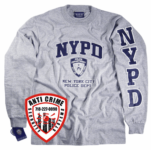 NYPD LONG SLEEVE GRAY TRAINING TEE SHIRT WITH NAVY BLUE PRINT