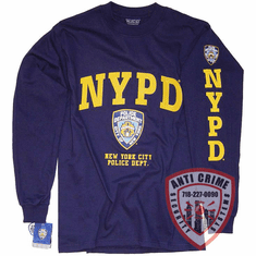 NYPD LONG SLEEVE NAVY BLUE TEE SHIRT SHIRT WITH GOLD PRINT