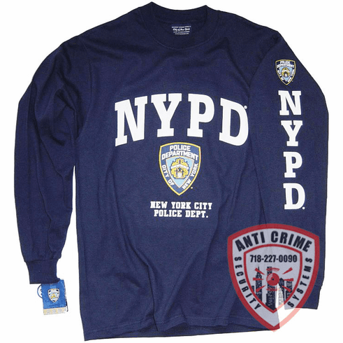 NYPD LONG SLEEVE NAVY BLUE TEE SHIRT WITH WHITE PRINT