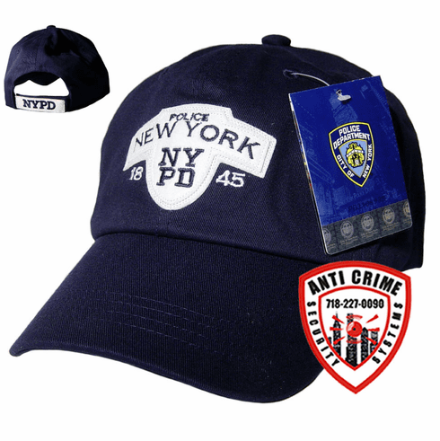 NYPD NAVY BLUE BASEBALL STYLE CAP WITH EMBROIDERED LETTERS ON WHITE FELT PATCH