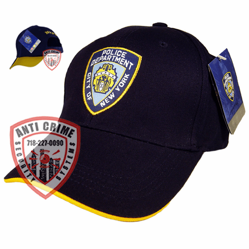 NYPD NAVY BLUE BASEBALL STYLE CAP WITH FULL EMBROIDERED OFFICIAL PATCH