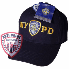 NYPD NAVY BLUE BASEBALL STYLE CAP WITH OFFICIAL NYPD EMBROIDERED LOGO/GOLD LETTERS