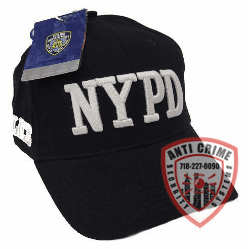 NYPD NAVY BLUE BASEBALL STYLE CAP WITH  WHITE THICK STITCH EMBROIDERED LETTERS